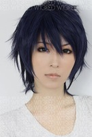 New Style  Short Straight Blue Mix Color layer cosplay party wig Free Shipping