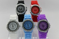 Free Shipping Geneva silica gel table screen printing watch jelly watch unisex table ebay
