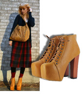 2012 star style fashion autumn and winter bandage thick heels shoes platform ultra high heels boots