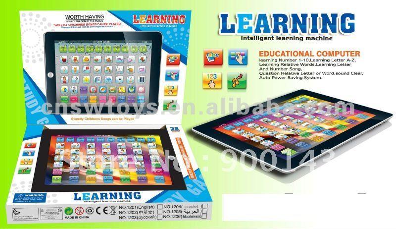 IPAD learning machine children ipad laptop computer (ENGLISH&SPANISH)laptop toys Ipad toys SW8800206(China (Mainland))