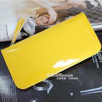 Free Shipping 2012 japanned leather zipper bag ultra-thin wallet women's long design wallet women's card holder clip wallet