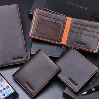 Free Shipping 2012 teemzone two-fold short design wallet male cowhide wallet