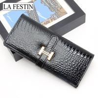 Free Shipping 2012 crocodile pattern medium-long cowhide wallet women's wallet women's