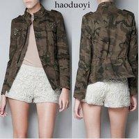 Spring Summer vintage Army Green ZA WOMENS Camouflage short jacket coat