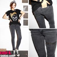 2012 smoky grey zipper vintage skinny pants tight jeans female