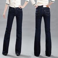 Flare trousers in high waist black bottom slim women's jeans 3f02