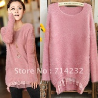 Free shipping! Women's 2012 slim lace plush knitted Women pullover sweater  lace womens'sweaters