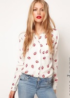 NEW  FASHION WOMEN  LONG SLEEVE RED LIP PRINTS CHIFFON BLOUSE