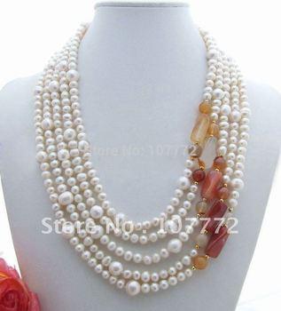 "58"" 3Strand Black Rice Pearl&White Keshi Pearl Necklace  free +shippment"
