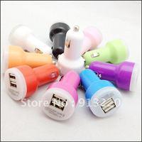 Free DHL Colorful Dual Port USB portable Car Charger 2100mah for ipad /iPhone PDA MP3 MP4 Mobile Phone 500pcs
