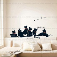 Black cat family Home Decor Removable Wall Sticker/Decal/Decoration B40187