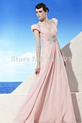 Designer Short Sleeve V-neck Ruffle Chiffon Beadings Low Back Evening Dress Gown(China (Mainland))