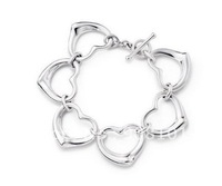 Six Heart Charm Bracelet.,925 silver sterling Jewelry bracelets with boxes gift bag