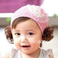 Best selling! Fashion baby headwear Bud silk bowknot lace wig belt 24Pcs/Lot Free shipping