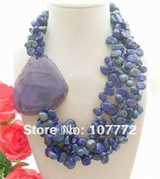 Beautiful! Natural Lapis & Agate Necklace   free +shippment