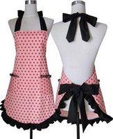Free shipping cotton pink cloth apron Korean aprons the fashion Polka Dot apron kitchen apron