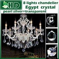 pearl silver +transparent   color  Egypt crystal   8  lights    modern  chandelier