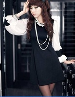 Free shipping 2012 autumn patchwork vintage lantern long sleeve chiffon knitted dress - CAD355