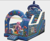 Free Shipping 0.55mm PVC 19.7'L*14.8'W Funny Sea world Inflatable Slides/Jumping Slides