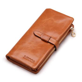 Megga vintage cowhide women's wallet female long design zipper three fold wallet drawstring buckle women's wallet