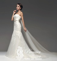 Actual Images Custom Made Strapless Alencon Lace Beaded Chapel Train Mermaid Gorgeous Wedding Dresses