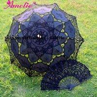 Handmade Belgian Lace Black Parasol Umbrella and Fan Uk Wholesaler