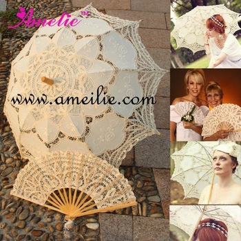 Бежевый Ecru Battenberg Кружево Parasols Umbrellas and Fan Set Australia