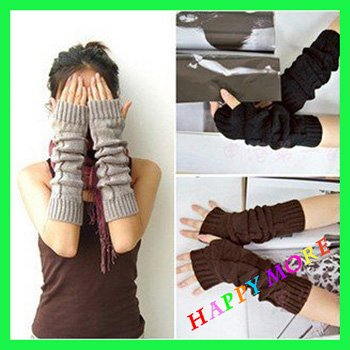 Free Shipping 2pairs/lot 2014 Hot sale Spring & Winter use Arm Warmer fashion long Mitten Gloves, lady's knitting gloves
