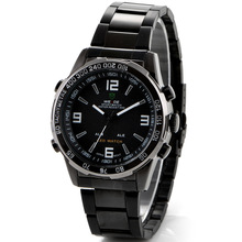 Fashionable male table LED double show waterproof movement diving multi-function business man watches(China (Mainland))