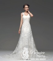 Actual Images Criss-cross Bodice Appliques Lace Straps Alencon Lace Beaded A-line Bridal Gown