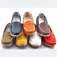 2012 round toe genuine leather flat heel mother shoes single shoes ladle shoes flat comfortable flat heel women shoes