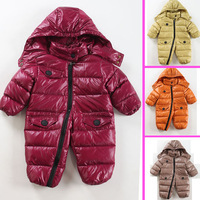 Free shipping 2012 high quality down baby down coat bodysuit white duck down baby winter