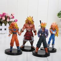 New Dragon Ball Z DBZ Super Saiyan 3 Goku Figures 13 CM 1set=4pcs Free Shipping