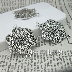 10pcs 28*40mm Vintage Silver Alloy Beautiful Flower Jewelry Connectors Jewelry Findings Fit Jewelry Making Charms 2970(China (Mainland))