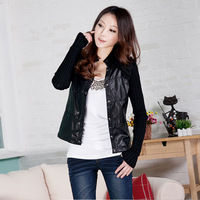 Women's 2012 autumn stand collar slim PU patchwork thin leather clothing short jacket