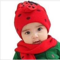 1set Free Shipping Wholesale Price Retail Baby ladybug hat and scarf set ladybird DR.Baby CAP HATS Beetle sets baby hat
