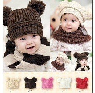 10pcs Wholesale free shipping new design Baby Hat, Double Yarn Ball Fashion Baby Cap WARM Winter Hat