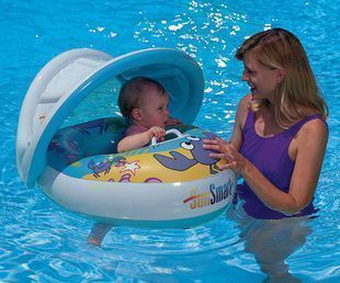Summer baby swim ring wooden seat floating row baby seat crab ring baby floating ring sun belt sun shelter