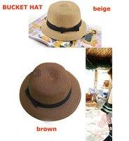 Free shipping+10pcs/lot+Whole sale Fashion Dome Bowtie Straw  Hat cap,Bucket Hat