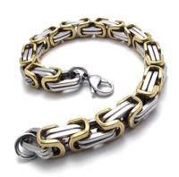 Gold and Silver Stainless Steel Bracelet ,Titanium Steel Men Chain Bracelet, Best Men Gift