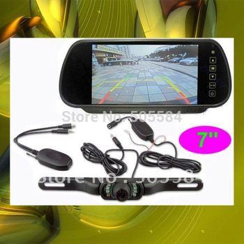 "2.4g Wireless Car Rearview mirror camera monitor kit 7"" LCD Car back camera Rear view reversing parking sensor IR night vision"