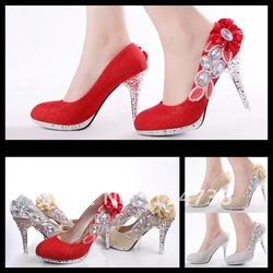 Sparkling Diamond 11cm Heels Waterproof Prom Evening Party Dress Lady Bridal Wedding Shoes(China (Mainland))