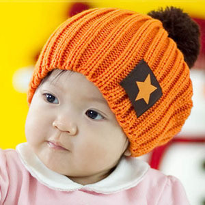Baby products 2010 candy color fashion pentastar labeling knitted hat baby hat(China (Mainland))