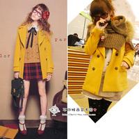 Vivi lena ingni vintage turmeric mustard yellow medium-long woolen overcoat 1049