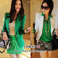2012 autumn candy green slim blazer suit jacket female 1003