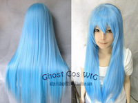 free shipping coplay wig 0 ! water blue long straight hair 80cm high temperature wire cosplay wig