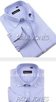 Men Business Casual Stylish Cotton Polyester Stripe Dress Shirts XS S M L XL 2XL  / free shipping