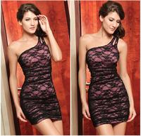 Женское платье 2013 Autumn Fashion One-Shoulder Dress Sexy Crystal Slim Oblique Dresses Polyester+Spandex GMO2551