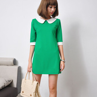 2012 autumn peter pan collar one-piece dress colorant match slim half sleeve one-piece dress