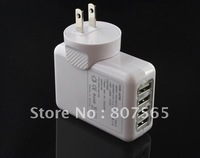Free Shipping 4 USB Ports US AC adaptor Wall Charger for iPhone 4 4G 3G 3GS ipad ipod Touch